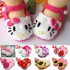 Crochet los zapatos del niño niña de punto de ganchillo zapatos de la flor infantil Hello Kitty zapato 5 par/lote envío gratis en Primeros Pasos de Bebés en AliExpress.com   Alibaba Group