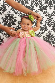 Tutu Dress, Flower Girl Dress, Pink Lime Green 12 Months to 2 Toddler. $60.00, via Etsy.