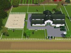 the barn is a bit to big but the paddocks and arena are lovely Dream Stables, Dream Barn, Horse Stables, Horse Farms, Horse Farm Layout, Barn Layout, Sims 3, Casas Country, Horse Barn Designs