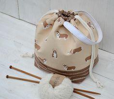 Puppy Drawstring project bag Knitting organizer bag Dog lover #projectbag #knittingtote