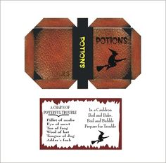 witch's potions book cover & opened book page