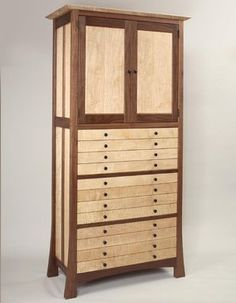 Walnut And Curly Maple Jewelry Cabinet Woodworking, Woodworking Inspiration, Jewelry Cabinet, Modern Woodworking Plans, Fine Furniture, Cool Furniture, Furniture Design, Woodworking Designs, Custom Furniture
