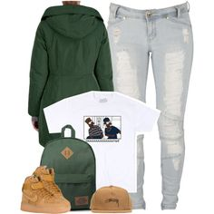 A fashion look from November 2016 featuring Moncler coats, Lee jeans and Dickies backpacks. Browse and shop related looks.