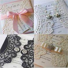 Dantel temasını sadece gelinlik ve düğün konseptinde değil, davetiyelerinizde de kullanabilirsiniz.