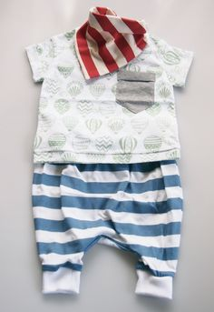Lightweight Hand Printed Organic Cotton Baby Slouch Pants - Blue Stripe on White