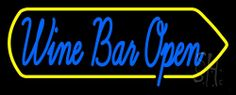 Cursive Wine Bar Open Neon Sign 13 Tall x 32 Wide x 3 Deep, is 100% Handcrafted with Real Glass Tube Neon Sign. !!! Made in USA !!!  Colors on the sign are Blue and Yellow. Cursive Wine Bar Open Neon Sign is high impact, eye catching, real glass tube neon sign. This characteristic glow can attract customers like nothing else, virtually burning your identity into the minds of potential and future customers.