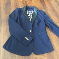 GREAT BLAZER! NAVY BLAZER WITH LEATHER COLOR AND GOLD ACCENTS -size M -like new! -super comfy! -all offers accepted  Jackets & Coats Blazers