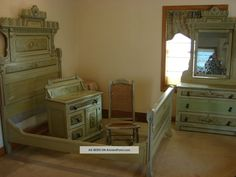 1880's Antique Victorian 4 Piece Cottage Painted Bed Room Set 1800-1899 photo