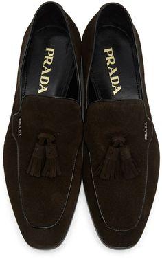 Prada - Brown Suede Tassel Loafers