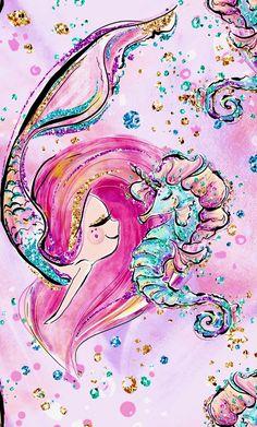 Diamond Painting Mermaid and Seahorse Paint with Diamonds Art Crystal Craft Decor Mermaid Wallpaper Iphone, Mermaid Wallpapers, Cute Wallpapers, Glitter Wallpaper, Desktop Wallpapers, Nature Wallpaper, Unicorns And Mermaids, Mermaid Art, Watercolor Mermaid