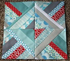 Quilt Block--always like aqua and red, but definitely like the addition of the silver/grey