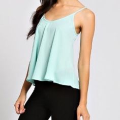 Mint Scoop Back Cami Solid colored mint scoop back camisole. 100% polyester. 2 Larges left! No PayPal or trades. boutique Tops Camisoles