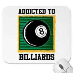 Addicted to 8 Ball billiards badge