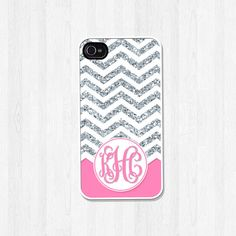 Personalized Phone Case, iPhone 4 4S, iPhone 5 5S 5C, Samsung Galaxy S3 S4 S5, iPhone Case, Silver Glitter Chevron Pink Monogram (368)