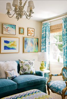 Love the combination of tan and turquoise. Interior by Katie Rosenfeld.