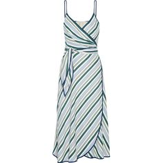 Tory Burch Villa striped satin-twill wrap dress (£410) ❤ liked on Polyvore featuring dresses, day dress, vestidos, blue, wrap dress, stripe dress, white day dress, blue stripe dress and blue satin dress