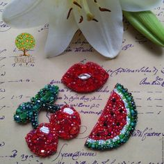 embroidered brooch lips watermelon cherry brooch beaded brooch