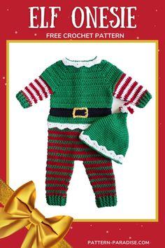 Free Crochet Pattern: Elf Baby Onesie | Pattern Paradise Crochet Christmas Gifts, Christmas Crochet Patterns, Holiday Crochet, Christmas Knitting, Christmas Crafts, Christmas Outfits, Christmas Stuff, Christmas Ideas, Quick Crochet