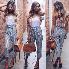 bow pants-dressy pants- striped pants-Summer casual and trendy outfits – Just Trendy Girls Cute Spring Outfits, Trendy Outfits, Cute Outfits, Fashion Outfits, Fashion Women, Work Fashion, Fashion Pants, Fashion Clothes, Fashion Online