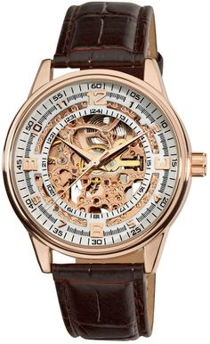 online shopping for Akribos XXIV Men's 'Saturnos' Skeleton Automatic Gold Round Watch from top store. See new offer for Akribos XXIV Men's 'Saturnos' Skeleton Automatic Gold Round Watch Vintage Watches For Men, Luxury Watches For Men, Sport Watches, Cool Watches, Men's Watches, Wrist Watches, Skeleton Watches, Leather Pattern, Patek Philippe