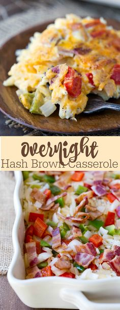 Crockpot Overnight Breakfast Casserole is a classic breakfast casserole with eggs, sausage, bacon, hash browns, and cheese, Great for the holidays and a crowd.