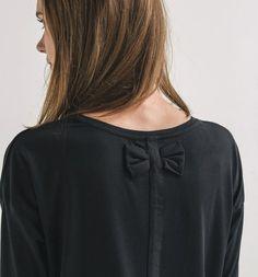 T-shirt noeud papillon Femme noir - Promod