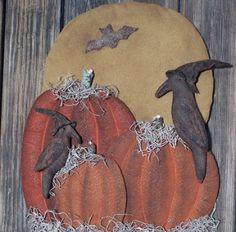 Primitive Wood Pumpkin Patterns | ... com ::. PatternMart: Primitive Halloween Pumpkins & Crows Door Hanger