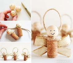 These wine cork angels are SO EASY to make and they're such a sweet homemade Christmas ornament idea! They'd also make super cute gift tags on presents too!