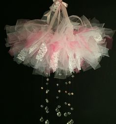 Pink and white tulle Couture princess mobile, two-toned pink and white tulle crystal baby mobile, hanging baby nursery mobile, couture baby by C3CreationsLLC on Etsy https://www.etsy.com/listing/262845110/pink-and-white-tulle-couture-princess