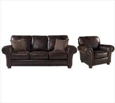 Nebraska Furniture Mart – Lane Espresso Faux Leather Sofa and Chair (upstairs furniture set)