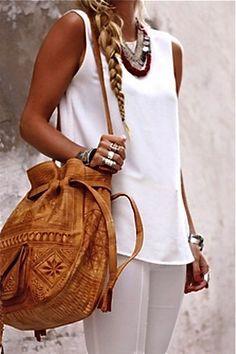 more white tee, tribal jewellery, ethinic bag