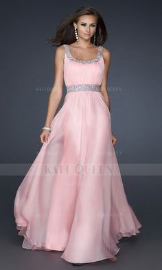 Chiffon A-line Spaghetti Straps Long Prom Dresses UK With Beading $281.99 Evening Dresses