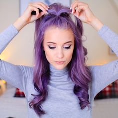 "Purple hair ""My four favourite curly hairstyles are now on www.youtube.com/inthefrow Click the link in my bio to watch "" 