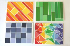 Mosaic patterns made with paint color samples. So cool!