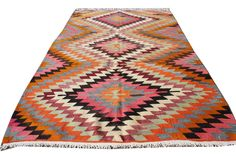 "Bohemian Rug Vintage Turkish Kilim Rug Handwoven rugs for your Home 65"" x 91 inches -  165 x 232 cm by PassionRug on Etsy https://www.etsy.com/listing/454202662/bohemian-rug-vintage-turkish-kilim-rug"