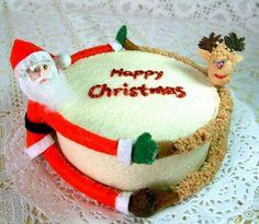 Felt Christmas fondant cakeSanta Clausreindeerfelt by fairyfox, $5.99
