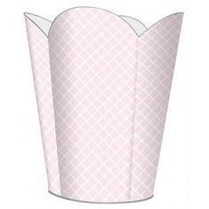 Chelsea Light Pink Decoupage Wastebasket and Optional Tissue Box