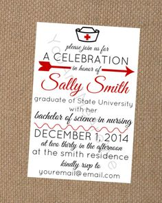 Nurse graduation party invitation chalkboard style 4x6 or 5x7 nursing school graduation party invitation also with matching food and drink tent cards filmwisefo