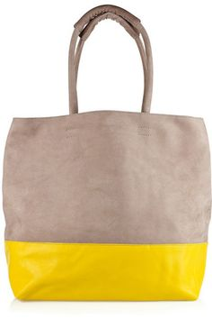 Newbarktaupe and bright yellow two tone leather tote