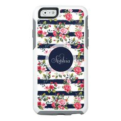 Girly vintage roses floral watercolor stripes OtterBox iPhone 6/6s case