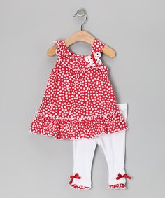 Take a look at this Red Polka Dot Butterfly Tunic & Leggings - Infant & Girls by Kids Headquarters on #zulily today!