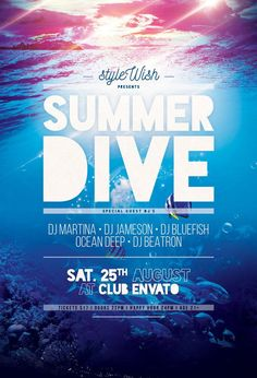 Summer Dive Flyer by styleWish (Buy PSD file - $9) #design #poster #graphic