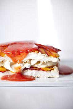 Peaches & cream meringue cake