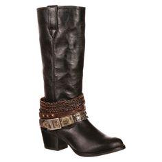 Durango Women's 14 Accessorize Philly Cowboy Boot - Black 6.5, Black Universe