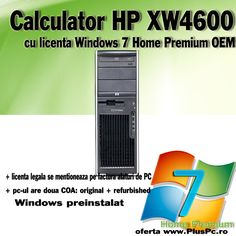 Workstation HP XW4600 Intel Core2Duo E6850 3000 MHZ, 4 gb RAM, 250 GB HDD, DVDRW, sunet, retea, usb, video in pci express Nvidia Quadro FX550 128 mb cu 128 bit. Licenta windows 7 Home Premium http://www.pluspc.ro/xw4600-e6850-licenta-win-home-premium-p-4246.html