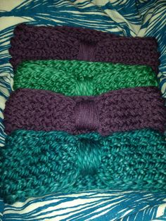 Loom knit earwarmers from straight loom with figure eight stitch