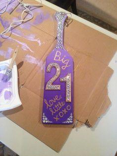 21st Birthday Paddle, Jewels, Purple