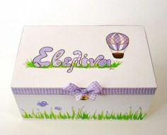 Hand-painted with acryllic colors, wooden box with lavenders and lilac hot air balloon at www.happyrooms.gr