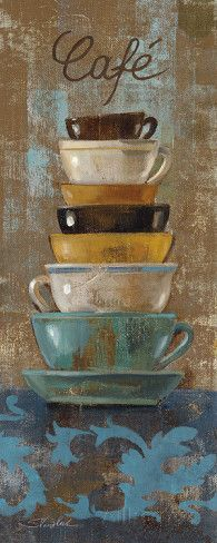 Antique Coffee Cups I Prints by Silvia Vassileva at AllPosters.com Coffee Artwork, Coffee Wall Art, Coffee Cup Art, Coffee Painting, Coffee Poster, Crayons Pastel, Painting Prints, Fine Art Prints, Paintings