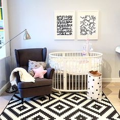 Adorable black and white nursery